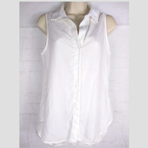 Cloth and Stone Chambray White S Sleeveless Shirt